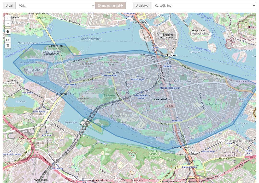 TMG Urval Skapa målgruppsurval genom att rita in område på karta
