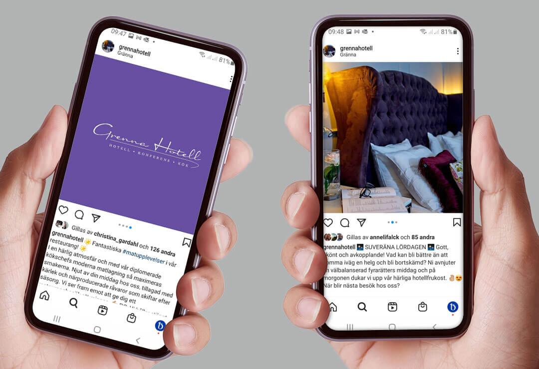 TMG - Showroom - Grenna Hotell - Instagram på mobil